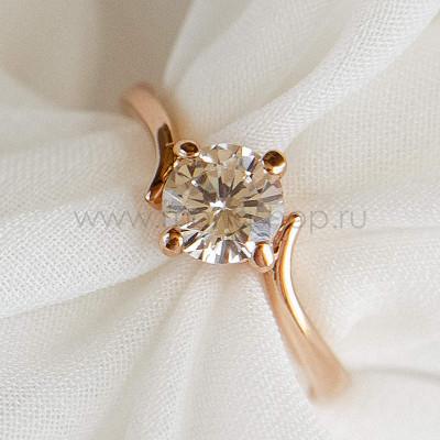 Кольцо Помолвочное с круглым камнем, позолота