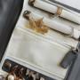 Дорожный органайзер для бижутерии и украшений серый, экокожа