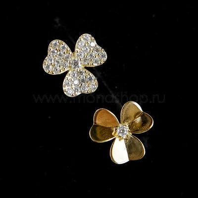 Серьги серебряные Трилистник с белыми фианитами, позолота