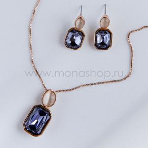 Комплект Прованс с фиолетовыми кристаллами Сваровски и опалами
