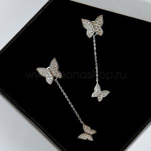 Серьги-трансформеры Две бабочки с белыми камнями
