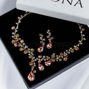 Комплект Симфония кристаллов с розовыми камнями Сваровски
