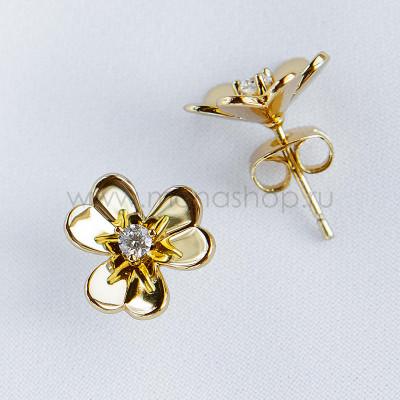 Серьги-гвоздики Золотые цветы с белыми фианитами