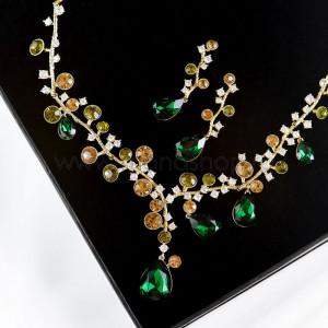 Комплект Симфония кристаллов с зелеными камнями Сваровски