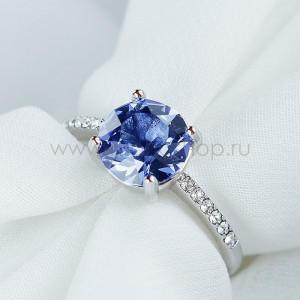 Кольцо Классика с синим кристаллом Swarovski