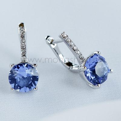 Серьги Классика с синими кристаллами Swarovski