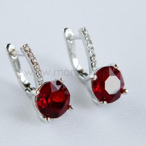 Серьги Классика с красными кристаллами Swarovski