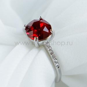 Кольцо Классика с красным кристаллом Swarovski