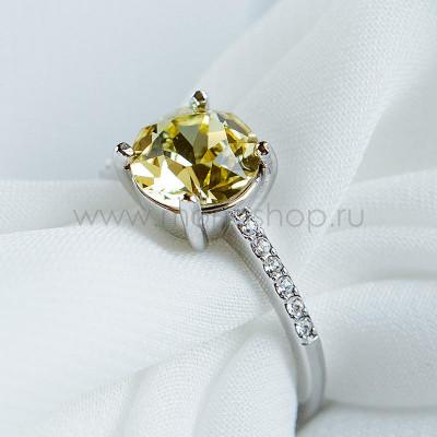 Кольцо Классика с желтым кристаллом Swarovski