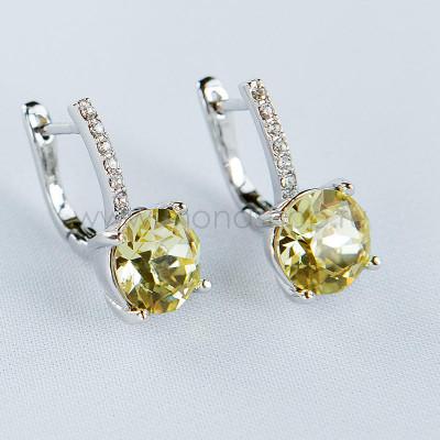 Серьги Классика с желтыми кристаллами Swarovski