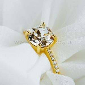 Кольцо Классика с белым кристаллом Swarovski