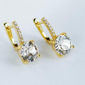 Серьги Классика с белыми кристаллами Swarovski