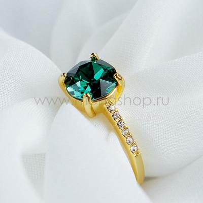 Кольцо Классика с изумрудным кристаллом Swarovski