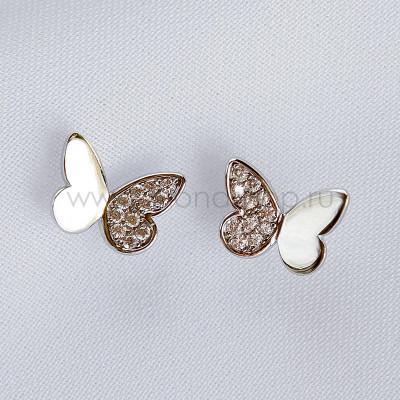 Серьги серебряные Полёт бабочек с белыми фианитами
