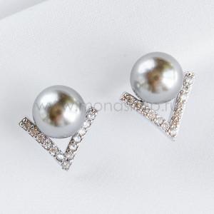 Серьги Виктория с серым жемчугом и кристаллами