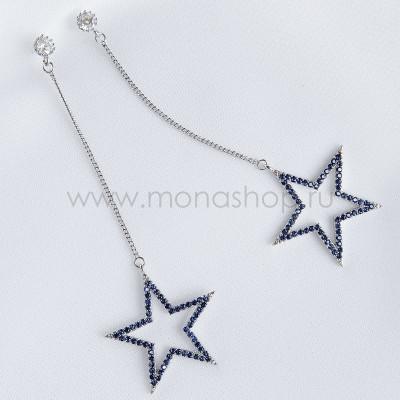 Серьги-подвески Синие звезды с фианитами