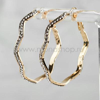 Серьги-кольца Волна с чешскими кристаллами