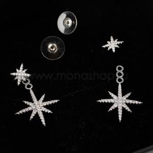 Серьги-подвески Звездное сияние с фианитами