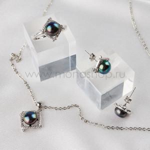 Комплект Темная ночь с черным жемчугом и кристаллами