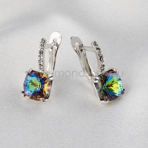 Серьги Сияние бриллиантов с зелеными кристаллами-хамелеонами Swarovski