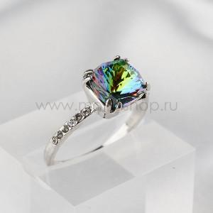 Кольцо Сияние бриллиантов с зеленым кристаллом-хамелеоном Swarovski