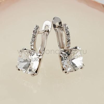 Серьги Сияние бриллиантов с белыми кристаллами Swarovski