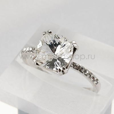 Кольцо Сияние бриллиантов с белым кристаллом Swarovski