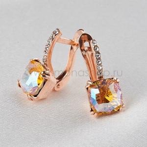 Серьги Сияние бриллиантов с желтыми кристаллами-хамелеонами Swarovski