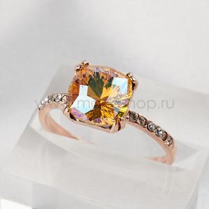 Кольцо Сияние бриллиантов с желтым кристаллом-хамелеоном Swarovski
