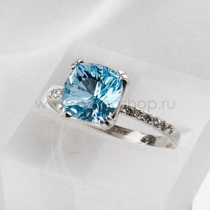 Кольцо Сияние бриллиантов с голубым кристаллом Swarovski
