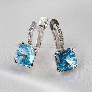 Серьги Сияние бриллиантов с голубыми кристаллами Swarovski