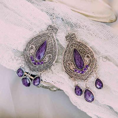 Серьги «Восток» с фиолетовыми камнями
