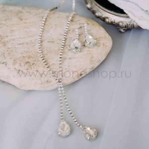 Комплект «Хрустальные подвески» с каплями-кристаллами