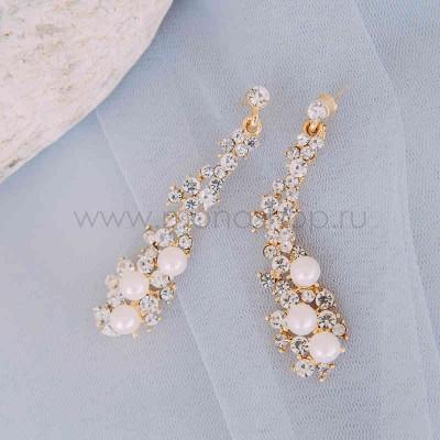 Серьги жемчужные «Нежность» с белыми кристаллами