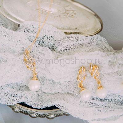 Комплект «Эмма» с белыми жемчужинами