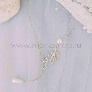 Колье-галстук «Милая» с белым жемчугом