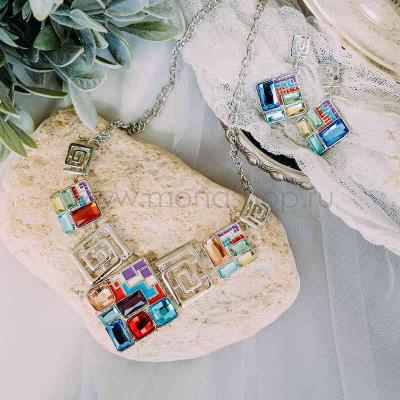 Комплект Витражи с разноцветными кристаллами