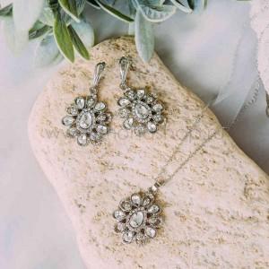Комплект винтажный «Ромашки» с белыми кристаллами