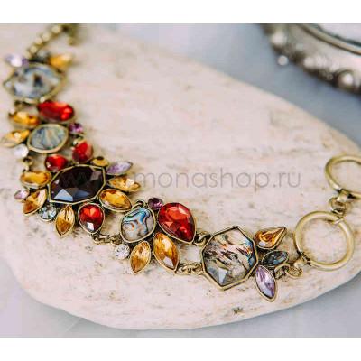 Браслет винтажный «Астры» с крупными цветами