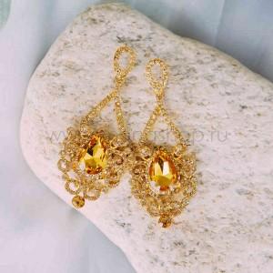 Серьги Барокко с желтыми кристаллами