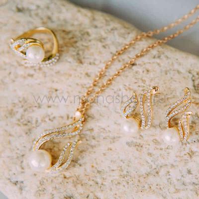 Комплект «Пламя любви» с белым жемчугом и кристаллами