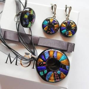 Набор дизайнерской бижутерии «Кольца Сатурна» из стекла ручной работы