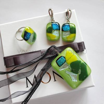 Комплект бижутерии «Киви» из стекла ручной работы