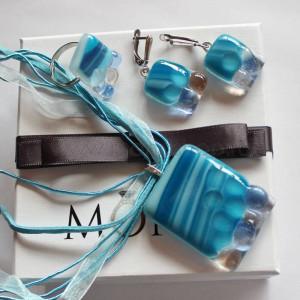 Комплект дизайнерских украшений «Бриз» из стекла ручной работы
