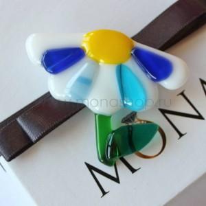 Брошь «Яркая ромашка» из разноцветного стекла ручной работы