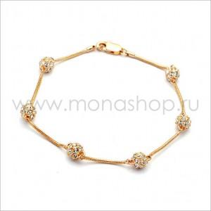 Браслет «Золотые шарики» с белыми кристаллами Сваровски
