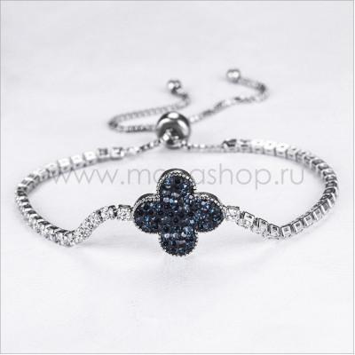 Браслет «Синий цветок» с россыпью кристаллов Сваровски