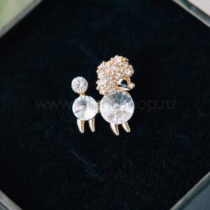 Брошь «Белый пудель» с кристаллами Сваровски