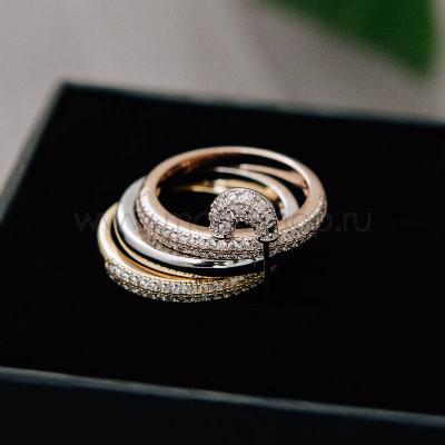 Кольцо тройное «Оберег» с булавкой и кристаллами Сваровски
