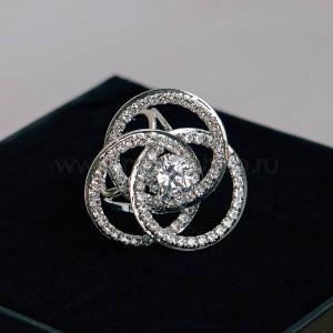 Брошь-кольцо для платков Иллюзия с белыми фианитами